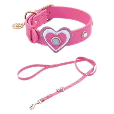 Happy Camper Collection Dark Pink Leather Dog Collar-Heart & White Cat Eye Cabochons