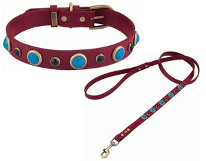 Imperial Collection Turquoise & Onyx Leather Collar