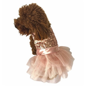 Marilyn Fufu Tutu Dog Dress, Rose Gold Sequins
