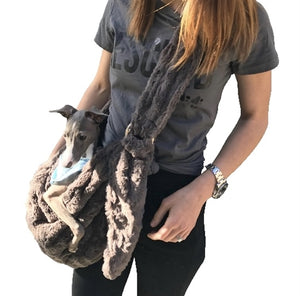 Adjustable Faux Fur Sling Bag Charcoal