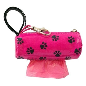 Duffle Waste Bag Holder- Pink w-Black Paws