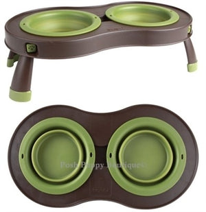 Small Green Collapsible Pet Feeder