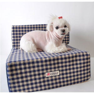 Denim check Step (Foldable-Portable-Washable Pet Dog Cat Bed Stair)