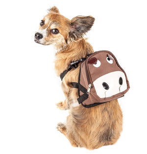 Mooltese Large Pocketed Compartmental Animated Dog Harness Backpack - Brown