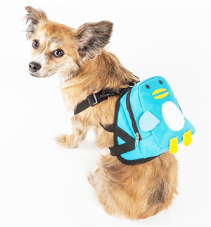 Waggler Hobbler Large Pocketed Compartmental Animated Dog Harness Backpack - Blue