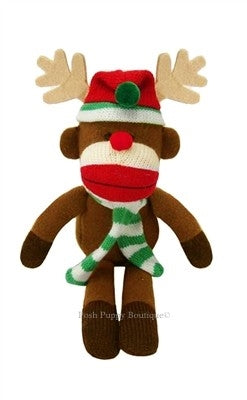 Christmas Holiday Sock Monkey Plush Toy- Max the Reindeer