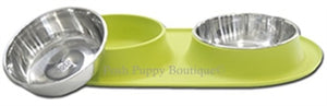 Double Bowl Silicone Feeders with Stainless Bowl- Green