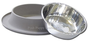 Single Bowl Silicone Feeders with Stainless Bowl- Grey