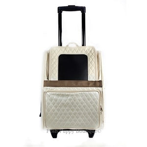 Rio Rolling Dog Carrier- Ivory Quilted Luxe