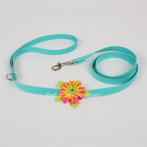 "Susan Lanci Island Flower Collection Ultrasuede 1-2"" Leash in Many Colors"