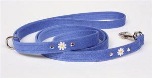 Susan Lanci Small Daisies Collection Ultrasuede Dog Leashes - Many Colors