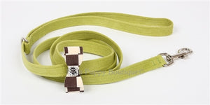 "Susan Lanci Windsor Check Collection 1-2"" Leash- Big Bow- Many Colors and Sizes"