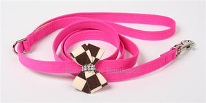 "Susan Lanci Windsor Check Collection 1-2"" Leash- Nouveau Bow- Many Colors and Sizes"