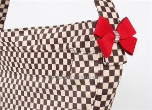Susan Lanci Windsor Check Collection Cuddle Carrier- Check with Nouveau Bow in RED