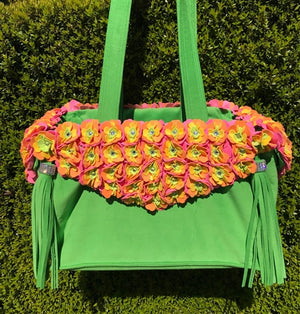 Susan Lanci Limited Edition Luxury Carrier Collection - Ultrasuede Green Tinkie's Garden with Tassels