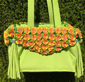 Susan Lanci Limited Edition Luxury Carrier Collection - Ultrasuede Kiwi Tinkie's Garden with Tassels