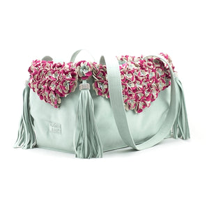 Susan Lanci Limited Edition Luxury Carrier Collection - Ultrasuede Mint Tinkie's Garden with Tassels