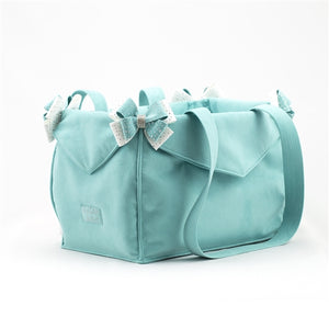 Susan Lanci Luxury Purse Carrier Collection- Ultrasuede Bimini Blue Nouveau Bow