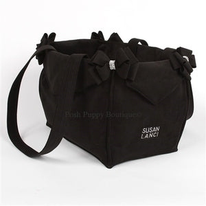 Susan Lanci Luxury Purse Carrier Collection- Ultrasuede Black Nouveau Bow