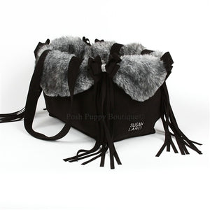 Susan Lanci Luxury Purse Carrier Collection- Nouveau Bow w-Fringe Black w-Grey Black Tipped Faux Fur