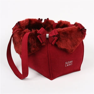 Susan Lanci Limited Edition Luxury Purse Carrier Collection - Burgundy with Soft Burgundy Faux Fox Fur with Nouveau Bow