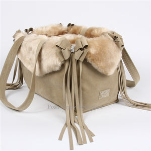 Susan Lanci Luxury Purse Carrier Collection- Nouveau Bow w-Fringe Champagne Fox Faux Fur