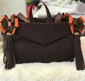 Susan Lanci Luxury Purse Carrier Collection- Ultrasuede in Cholocate and Orange Nouveau Bow