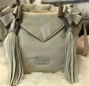 Susan Lanci Luxury Purse Carrier Collection- Ultrasuede in Doe and Fawn Nouveau Bow