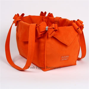 Susan Lanci Luxury Purse Carrier Collection- Ultrasuede Orange Nouveau Bow