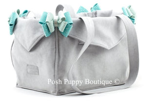 Susan Lanci Luxury Purse Carrier Collection- Ultrasuede in Platinum and Mint Nouveau Bow