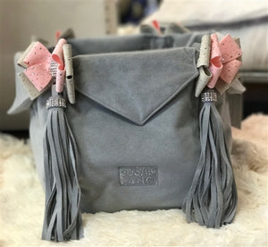 Susan Lanci Luxury Purse Carrier Collection- Ultrasuede in Platinum and Puppy Pink Nouveau Bow