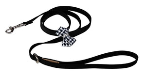 Susan Lanci Black and White Houndstooth Nouveau Bow Leash