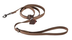 Susan Lanci Chocolate Glen Houndstooth Nouveau Bow Leash on Fawn
