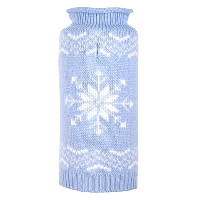 Snowflake Icy Blue Roll Neck Sweater