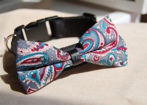 Couture Bow Tie Collar-Blue-Red Paisley