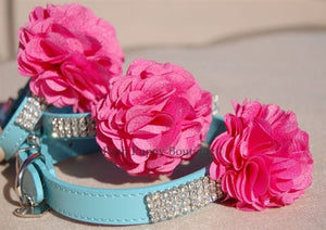 Couture Flower Blue Leather Collar- Rhinestones- Pink Flower