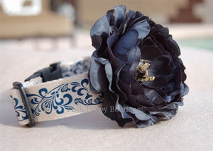 Couture Dark Navy Flower Collar- Blue-White