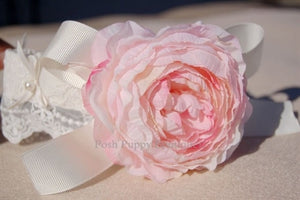 Couture Pink Flower Collar- Ivory Lace