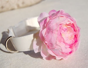 Couture Pink Flower Collar- White