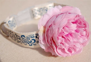 Couture Pink Flower Collar- Blue-White