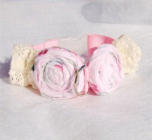Couture Shabby Chic Collar- Pink-White Lace