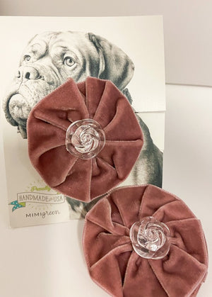 Mimi Green Dusty Pink Velvet Dog Collar Flower