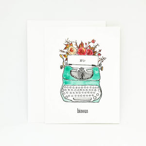 Carte St-Valentin style vintage | Whimsical Vintage Typewriter Card | French Greeting Card
