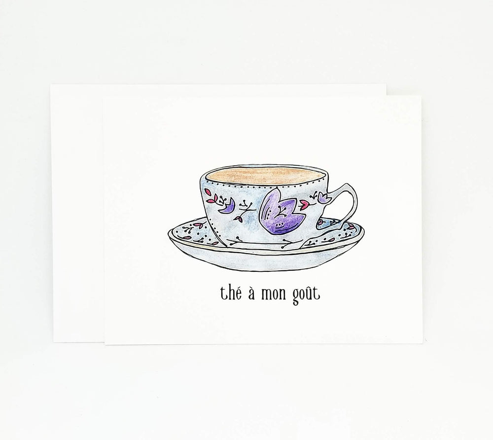 Load image into Gallery viewer, Carte St-Valentin avec une tasse de thé | Tea Lovers French Valentine's Day Card