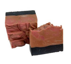Stack of Wychbury Ave Bourboned Tobacco handmade bar soap with activated charcoal
