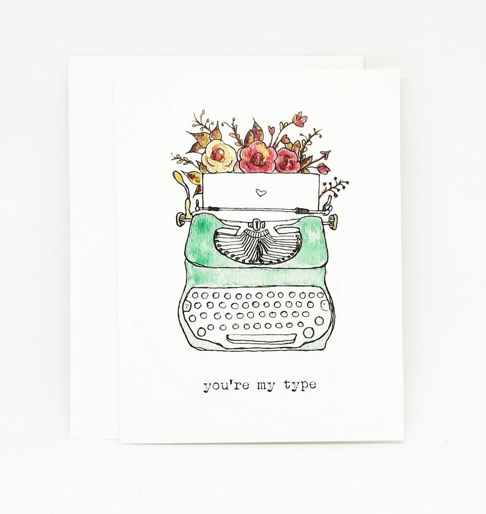 Vintage Typewriter Watercolour Valentine's Day Card | Valentine Greeting Card