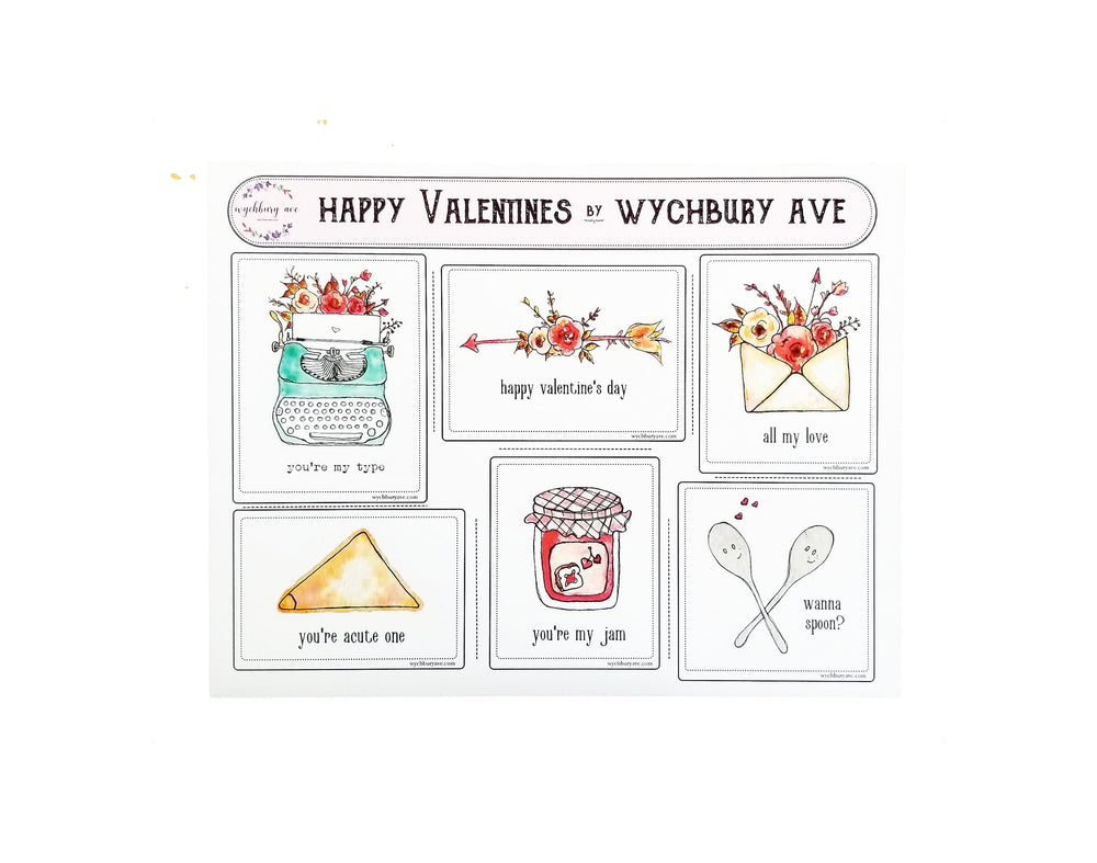 Watercolor Pun Valentines | Vintage Style Valentines | Whimsical and Funny Valentines