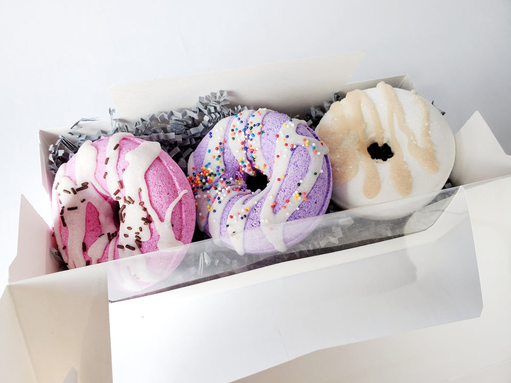 Donut Bath Bomb Gift Box | Honey Almond, Vanilla Bean, Black Raspberry Bath Bombs