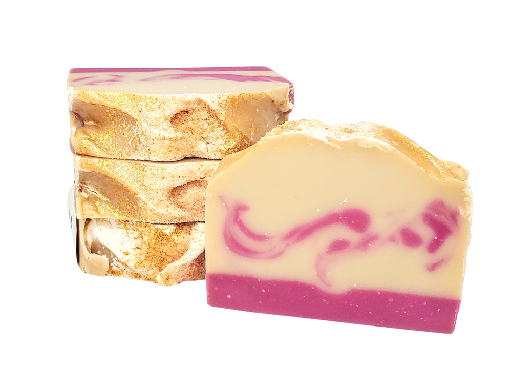Load image into Gallery viewer, Red Velvet & Sea Salt Valentine's Day Soap | Pomegranate Amaretto Soap | Valentine's Soap with 24 Karat Gold Mica