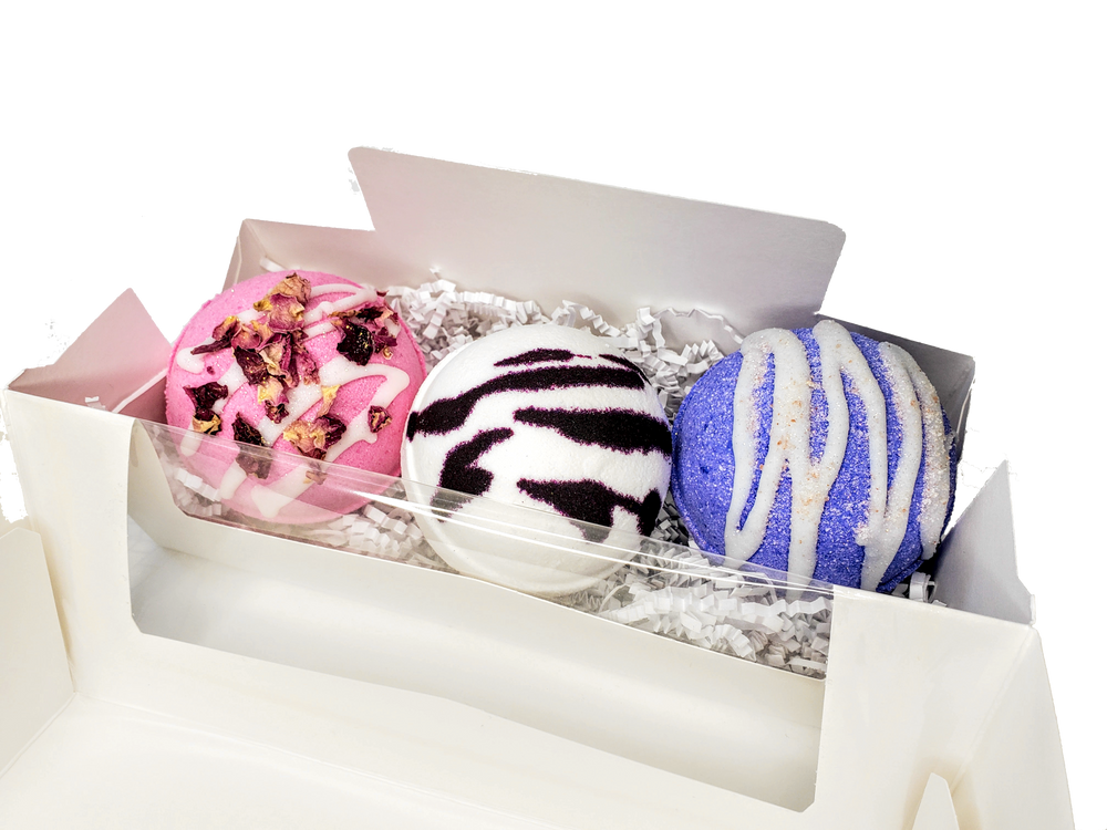 Valentine's Bath Bomb Box | Lavender, Bergamot Jasmine (Bliss), Pomegranate Amaretto (Red Velvet) Bath Bombs | Bath Bomb Gift Set